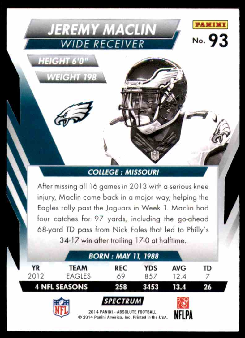 2014 Absolute Retail Red Jeremy Maclin #93 card back image