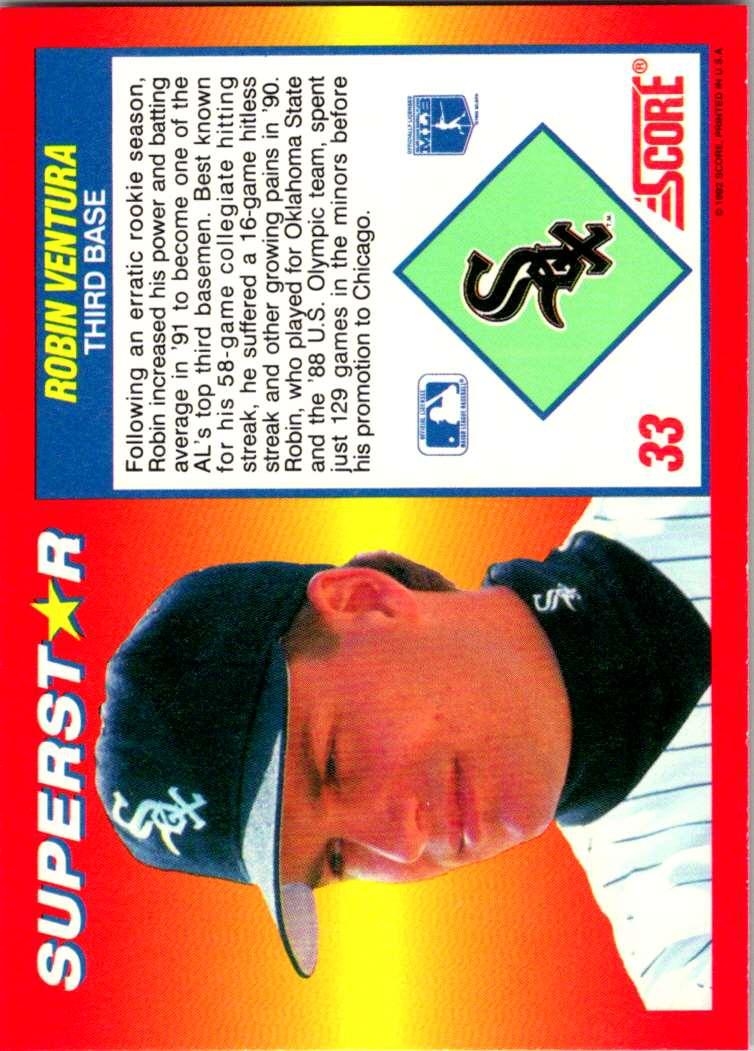 1992 Score 100 Superstars Robin Ventura #33 card back image