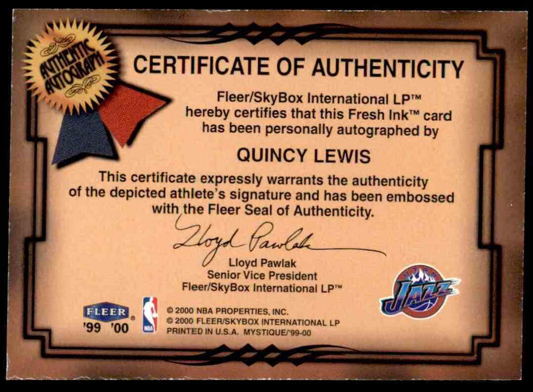 1999-00 Fleer Mystique Fresh Ink Quincy Lewis #24 card back image