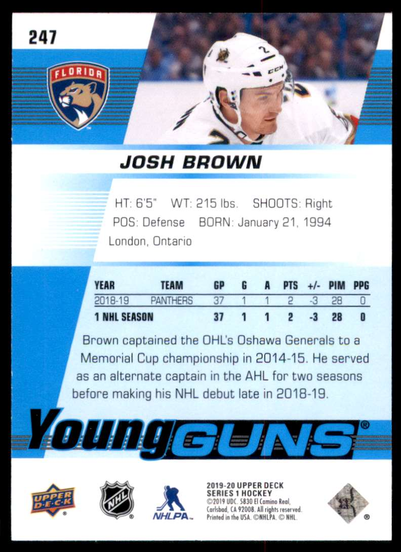 2019-20 Upper Deck Josh Brown Yg RC #247 card back image