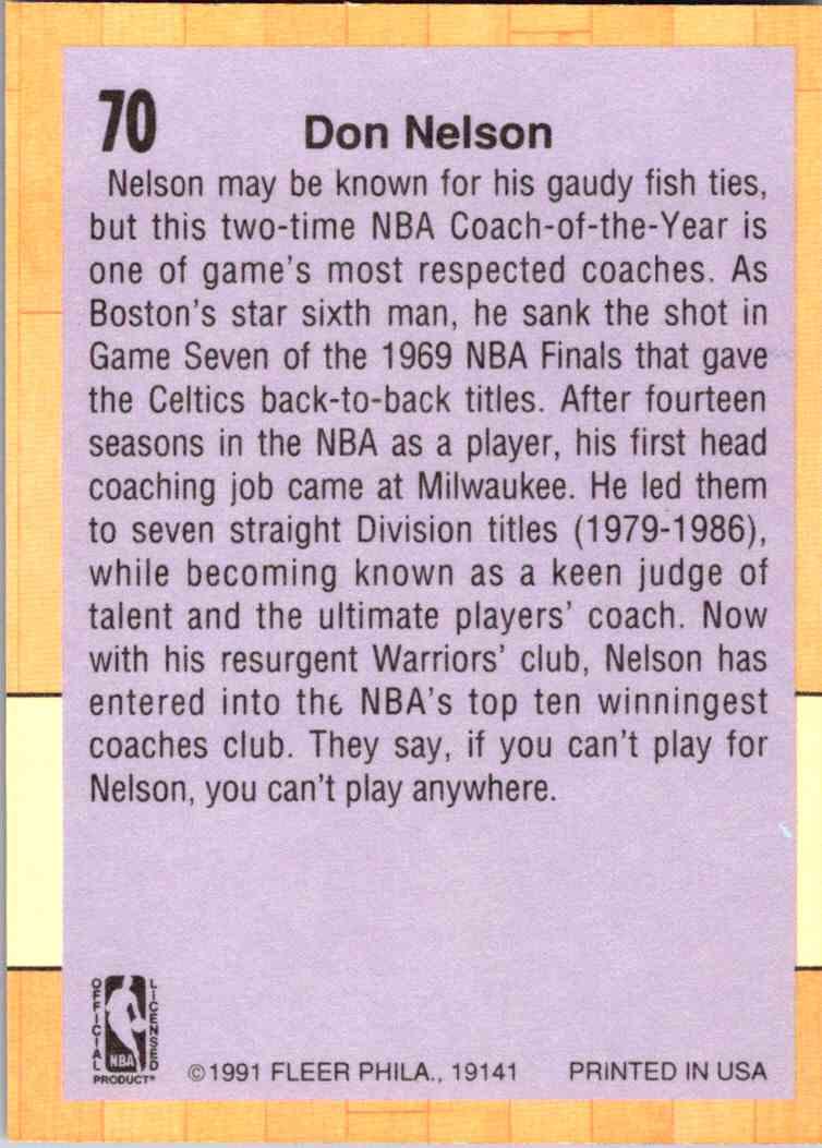 1991-92 Fleer Don Nelson #70 card back image