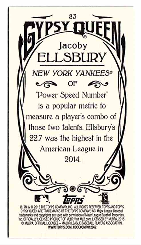 2015 Topps Gypsy Queen Mini Jacoby Ellsbury #83 card back image