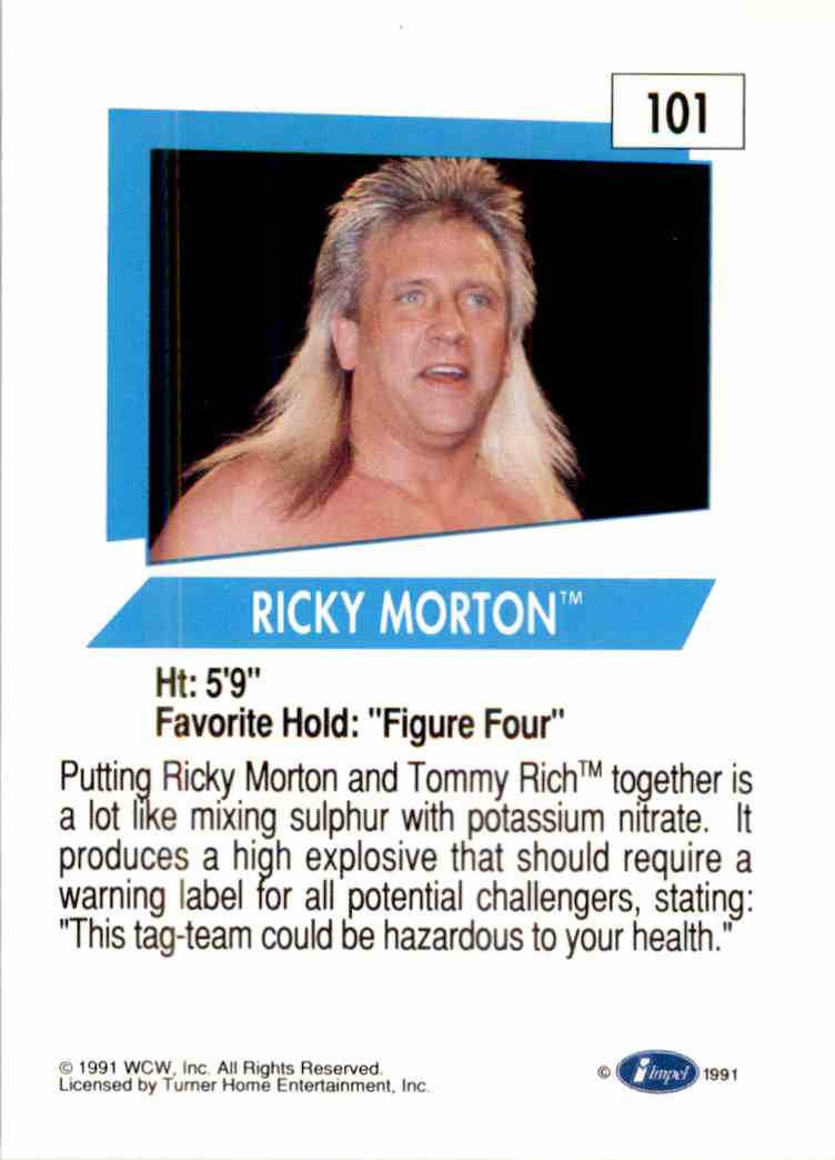 1991 Wcw Ricky Morton #101 card back image
