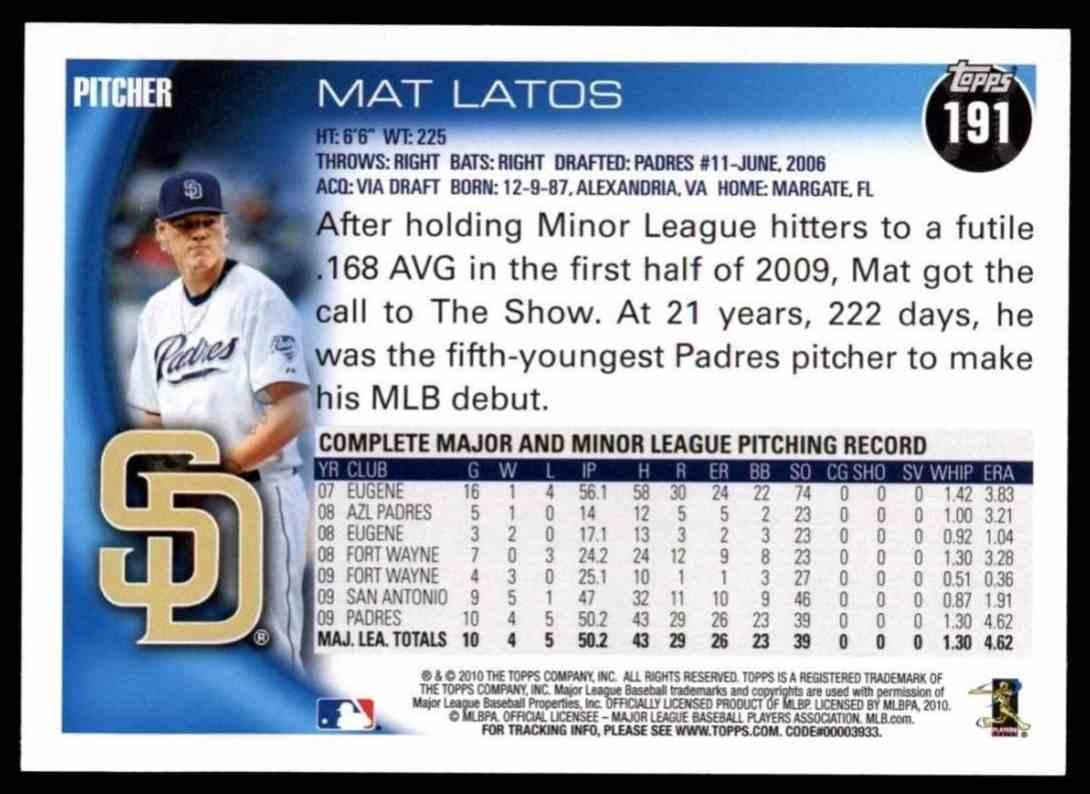 2010 Topps Mat Latos #191 card back image
