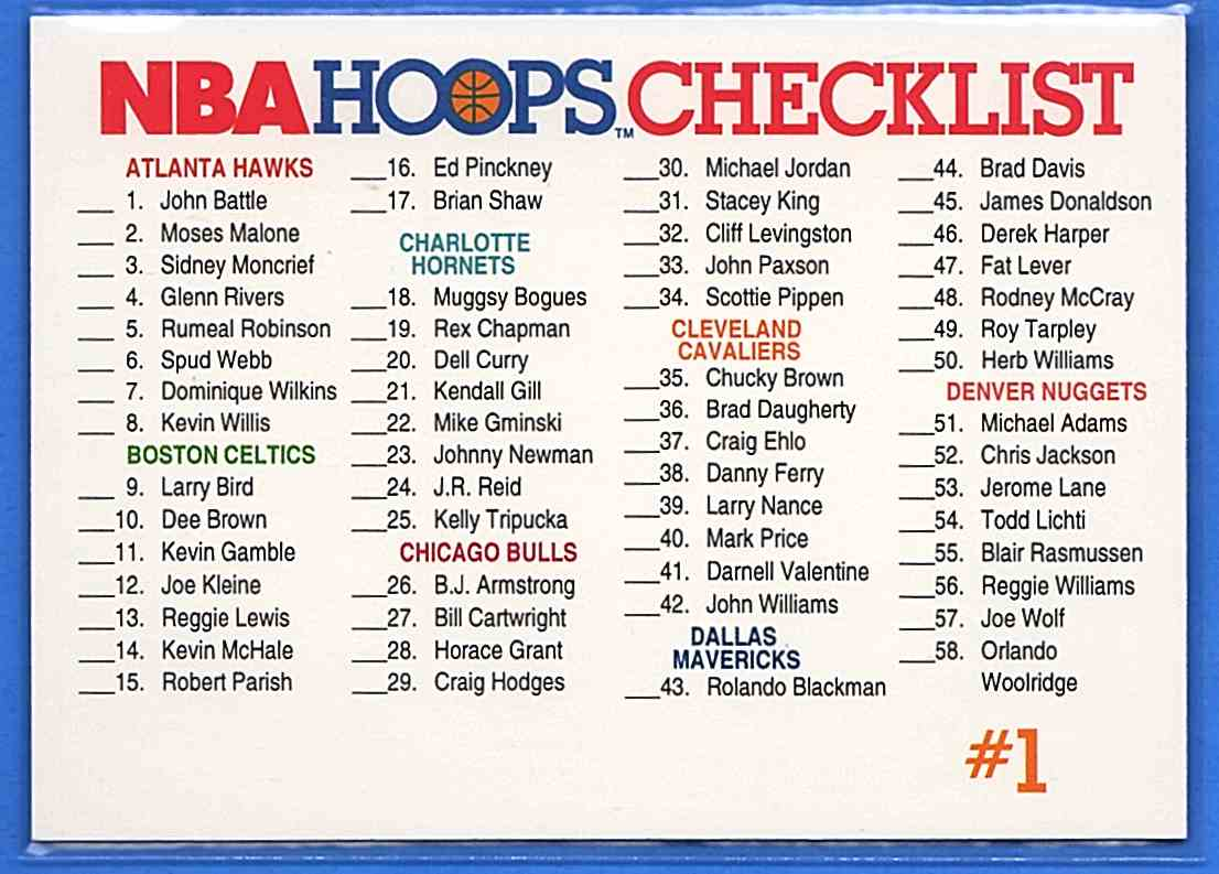 1991-92 Hoops Checklist 1 #328 card front image
