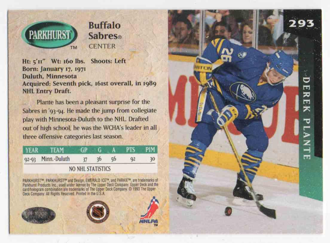 1993-94 Parkhurst Derek Plante #293 card back image