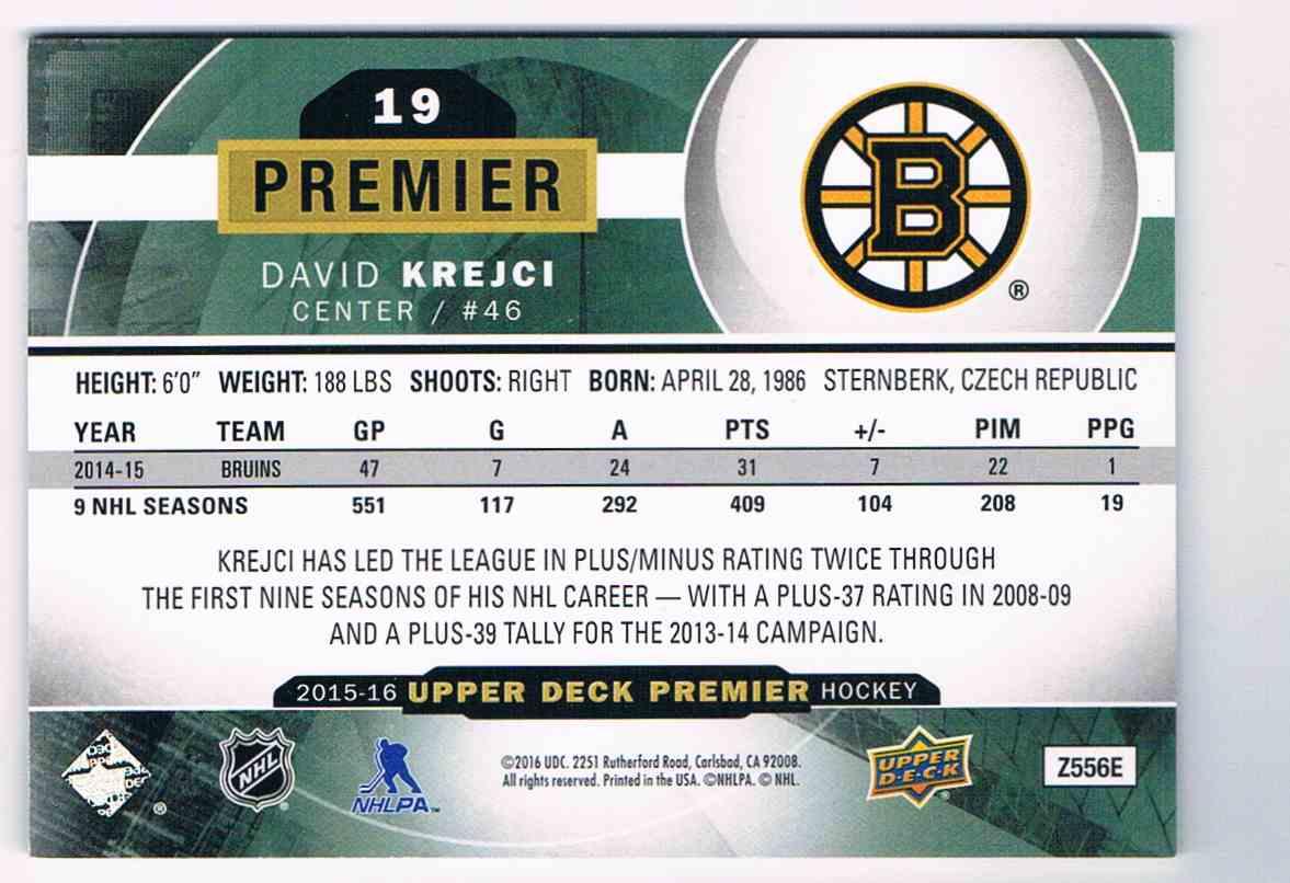2015-16 Upper Deck Premier Base David Krejci #19 card back image