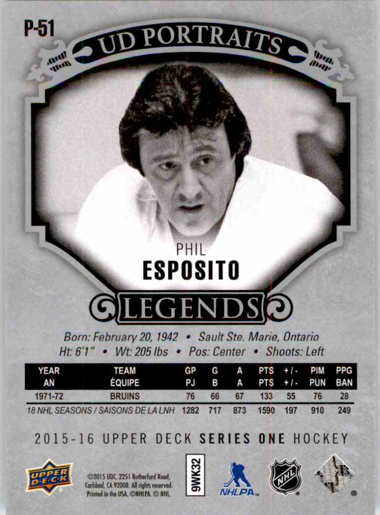 2015-16 Upper Deck Portraits Phil Esposito #P51 card back image