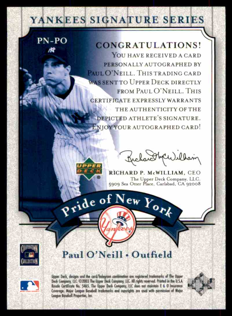 2003 Upper Deck Yankees Siganture Series Paul O'Neill card back image