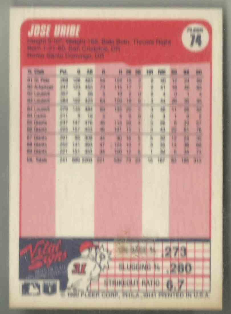 1990 Fleer Jose Uribe #74 card back image