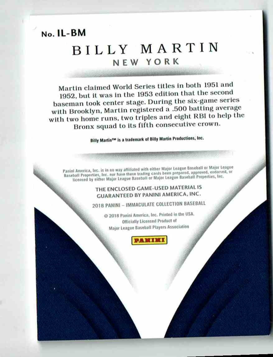 2018 Immaculate Collection Legend Relics Billy Martin #3 card back image