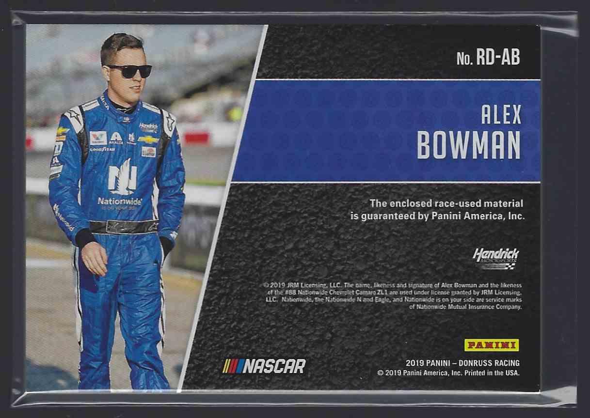2019 Donruss Race Day Relics Alex Bowman #RDAB card back image