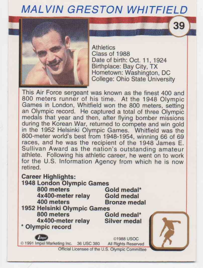 1991 Impel U.S. Olympic Hall Of Fame Malvin Whitfield #39 card back image