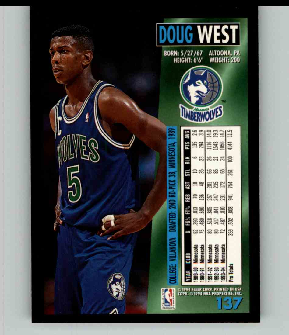 1994-95 Fleer Doug West #137 card back image