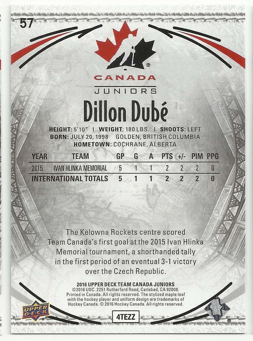 2016-17 Upper Deck Team Canada Juniors Dillon Dube #57 card back image