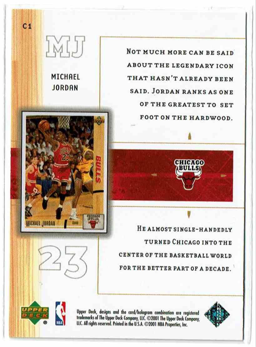2001-02 Upper Deck UD Class Michael Jordan #C1 card back image