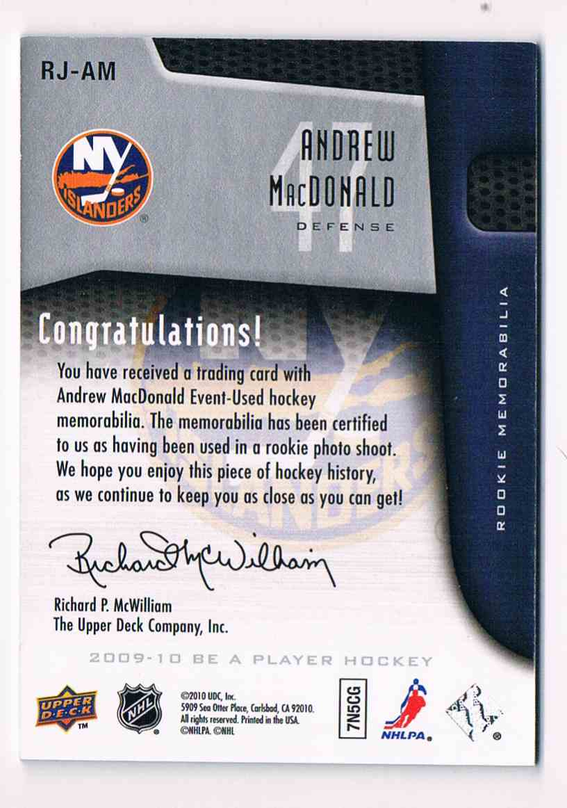 2009-10 Upper Deck Be A Player Rookie Jersey Andrew Macdonald #RJ-AM card back image
