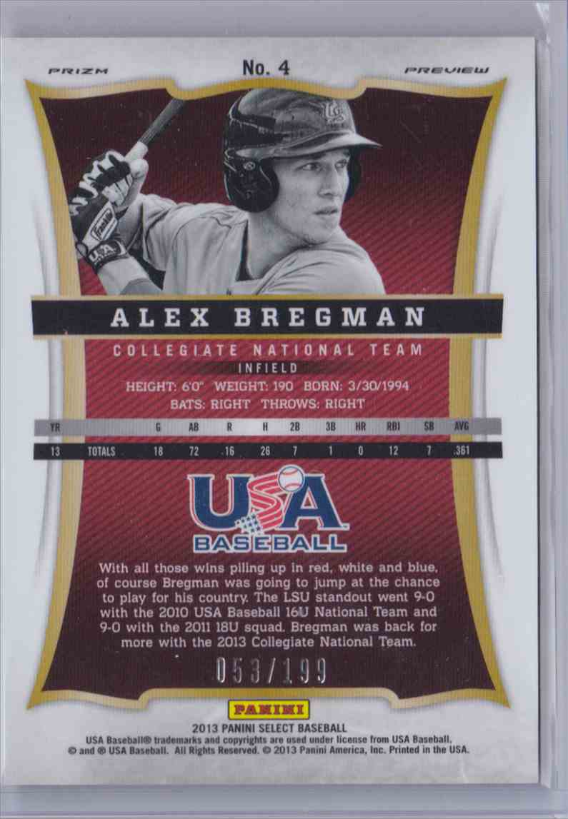 2013 Panini USA Select Blue Prizm Alex Bregman #4 card back image