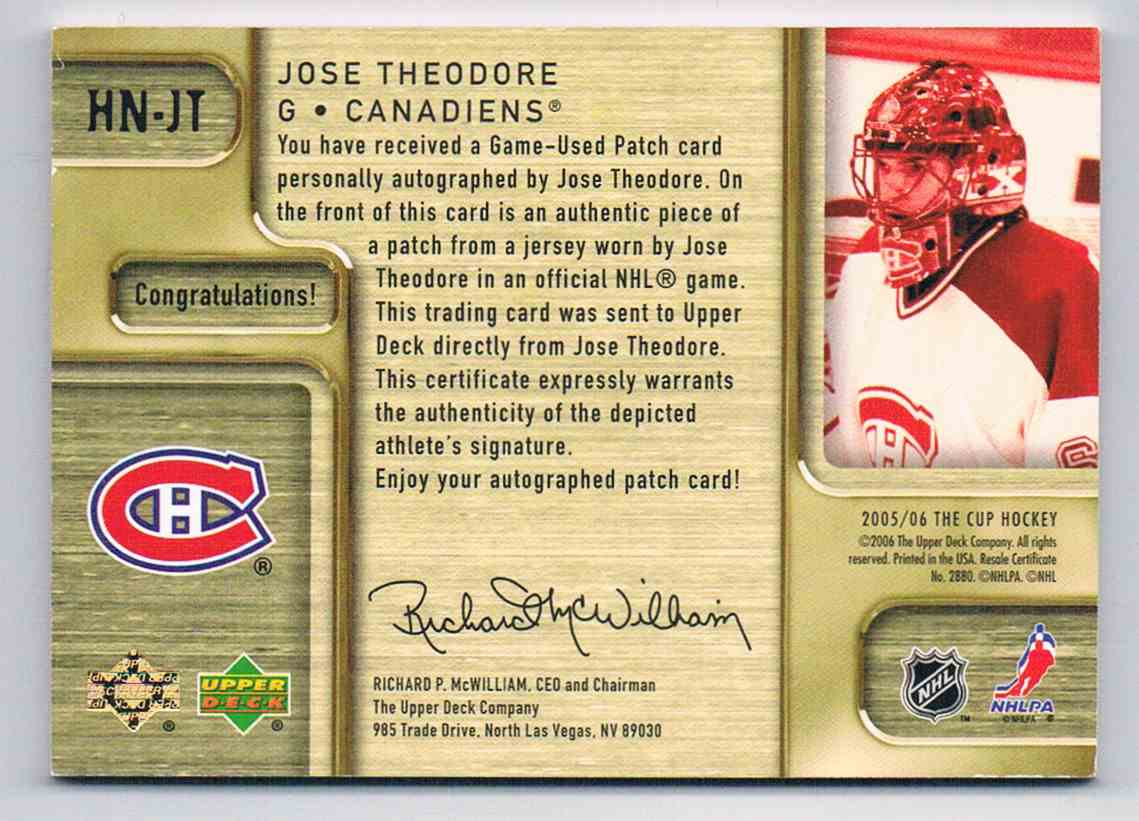 2005-06 Upper Deck The Cup Honorable Numbers Jose Theodore #HN-JT card back image