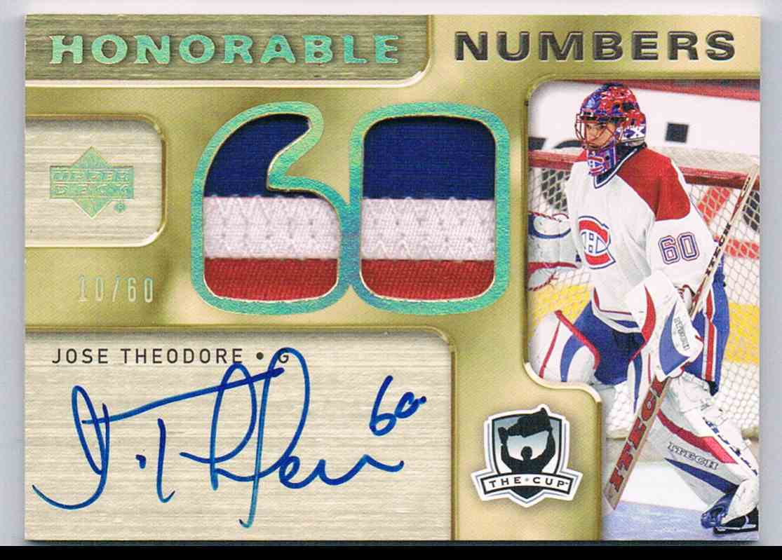 2005-06 Upper Deck The Cup Honorable Numbers Jose Theodore #HN-JT card front image