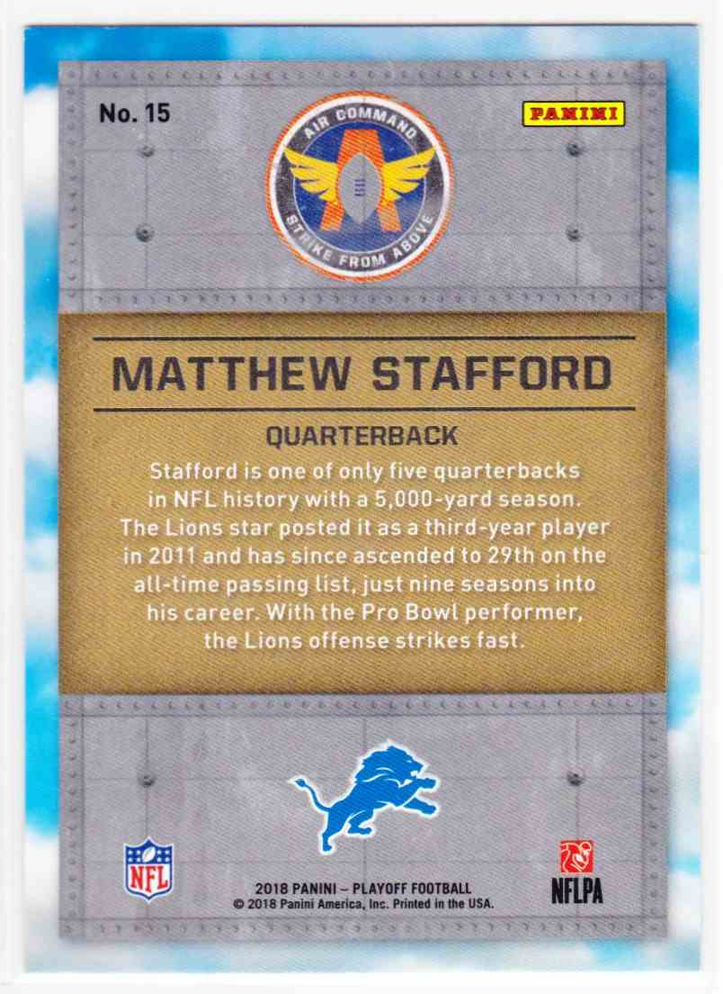 2018 Playoff Air Command Matthew Stafford #15 card back image