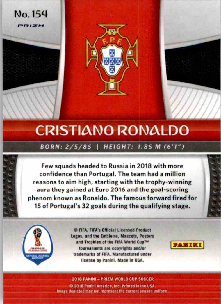 2018 Panini Prizm World Cup Prizms Lazer Cristiano Ronaldo #154 card back image