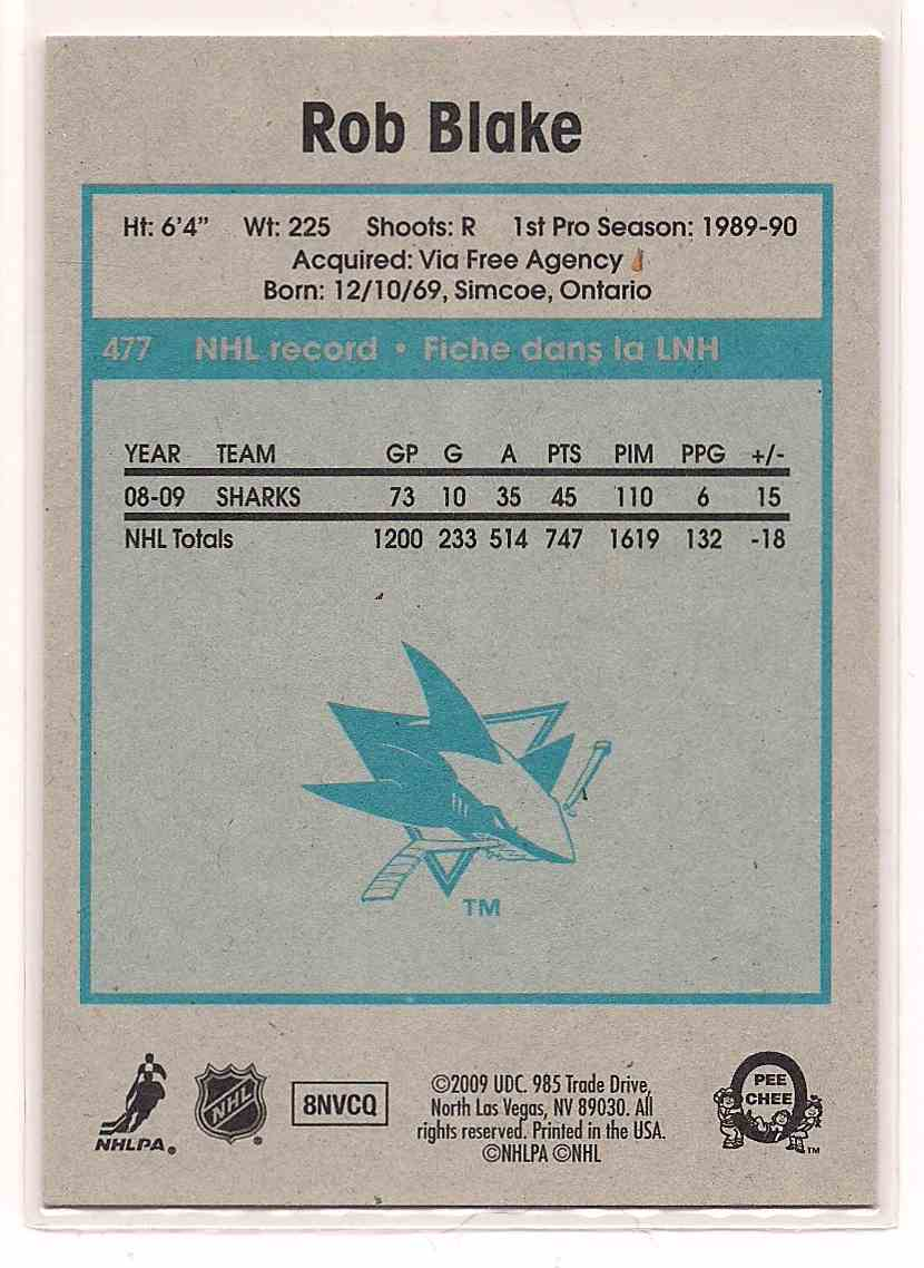 2009-10 0-Pee-Chee Retro Rob Blake #477 card back image