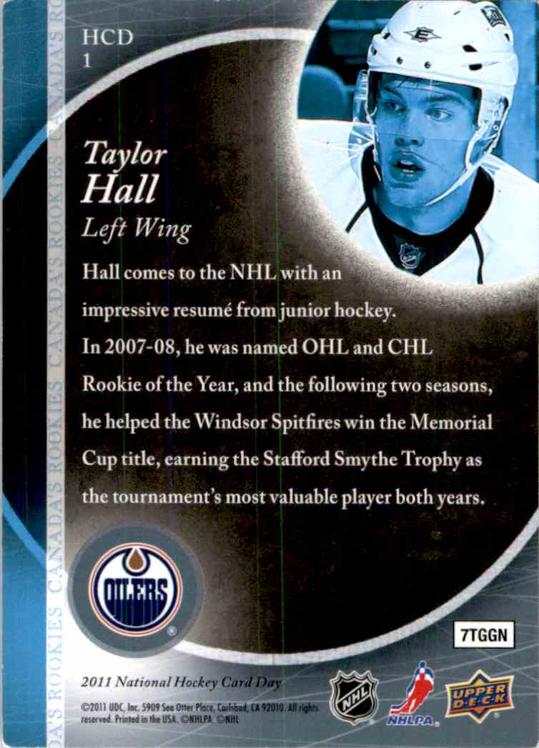 2010 11 Upper Deck National Hockey Card Day Taylor Hall