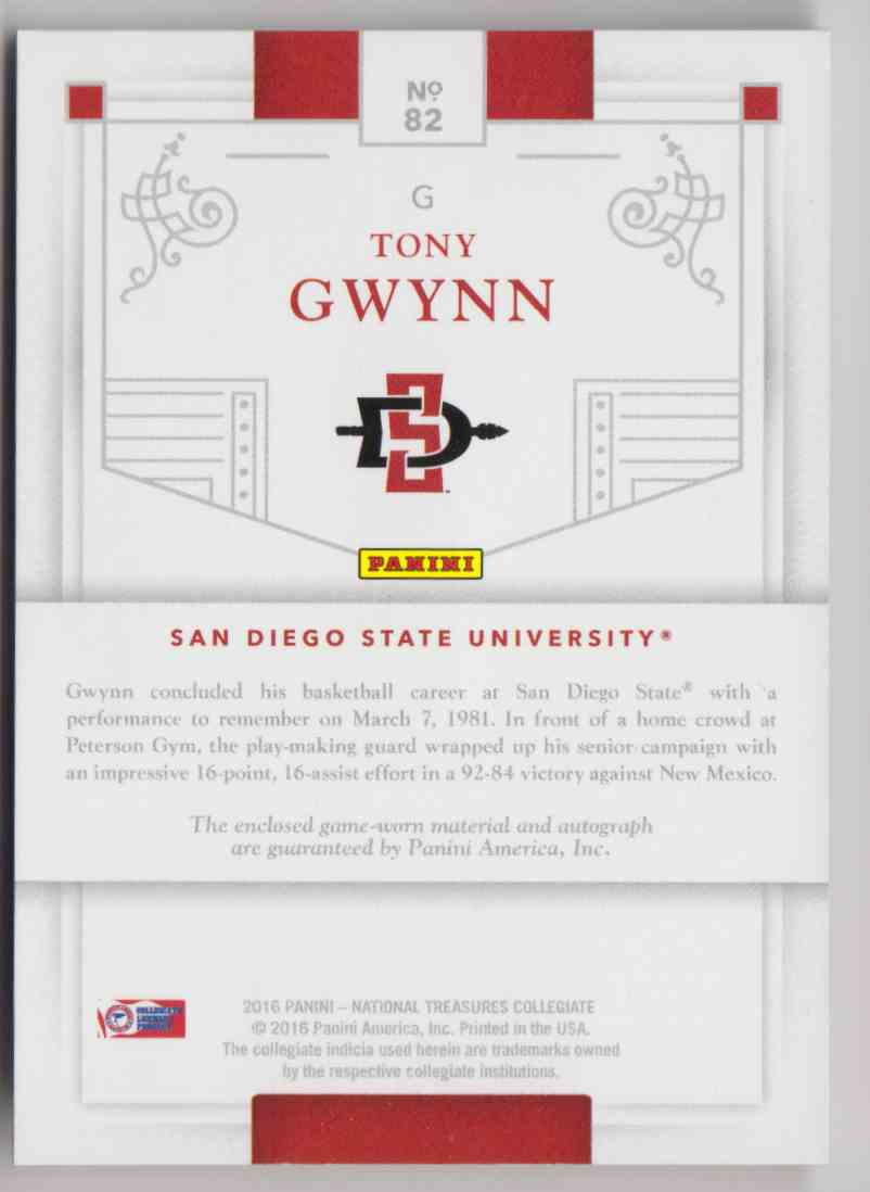 2016-17 Panini National Treasures Collegiate Tony Gwynn #82 card back image