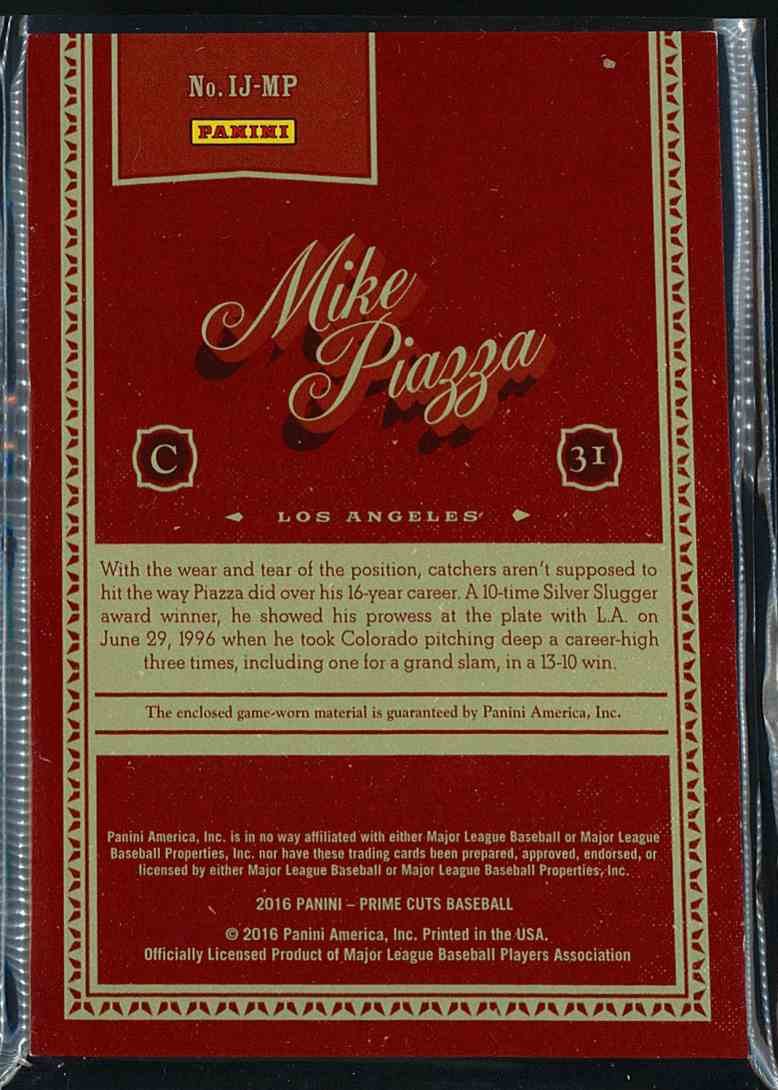 2016 Panini Prime Cuts Icons Mike Piazza #IJ-MP card back image