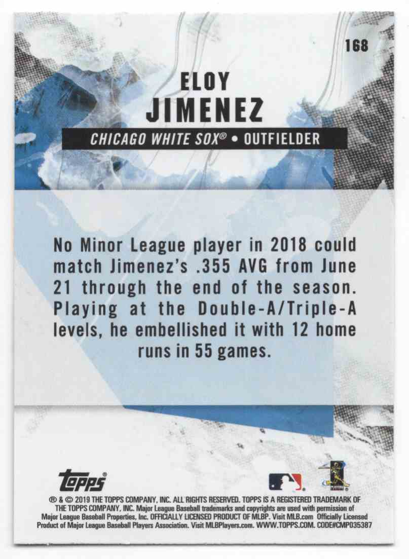 2019 Topps Fire Eloy Jimenez #168 card back image