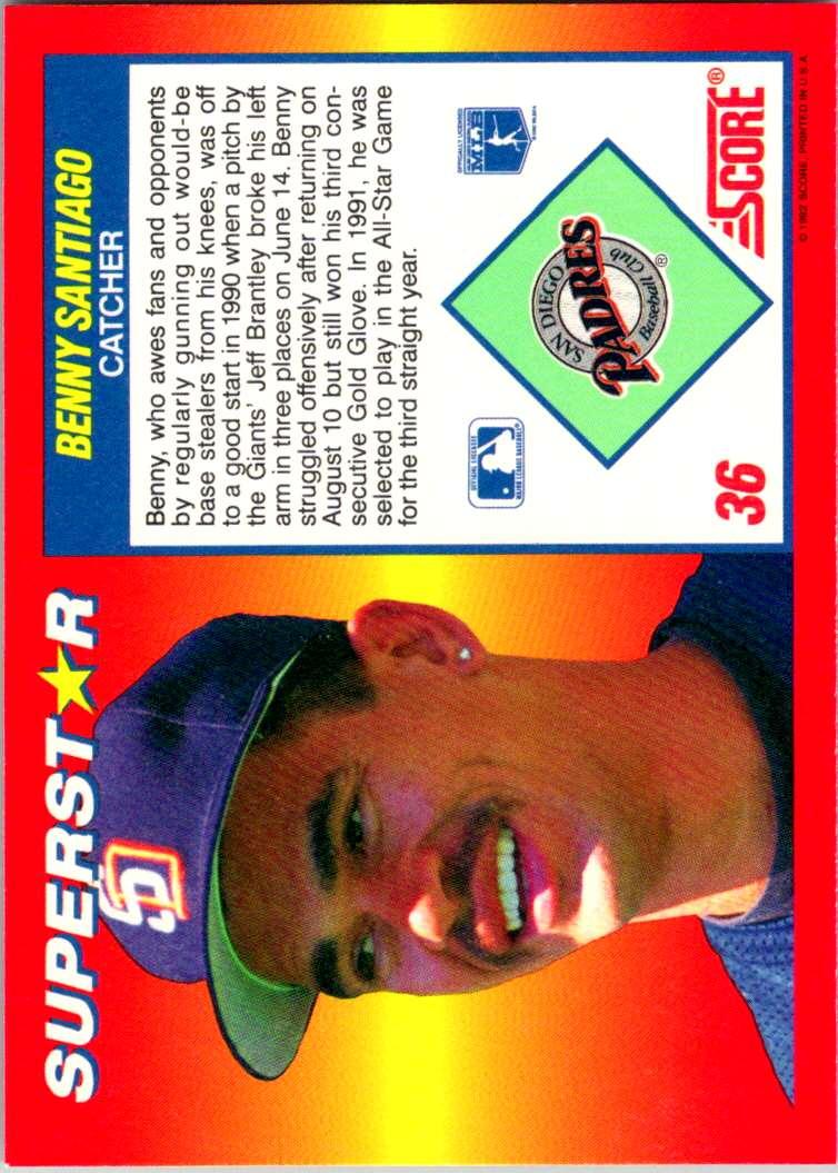 1992 Score 100 Superstars Benny Santiago #36 card back image