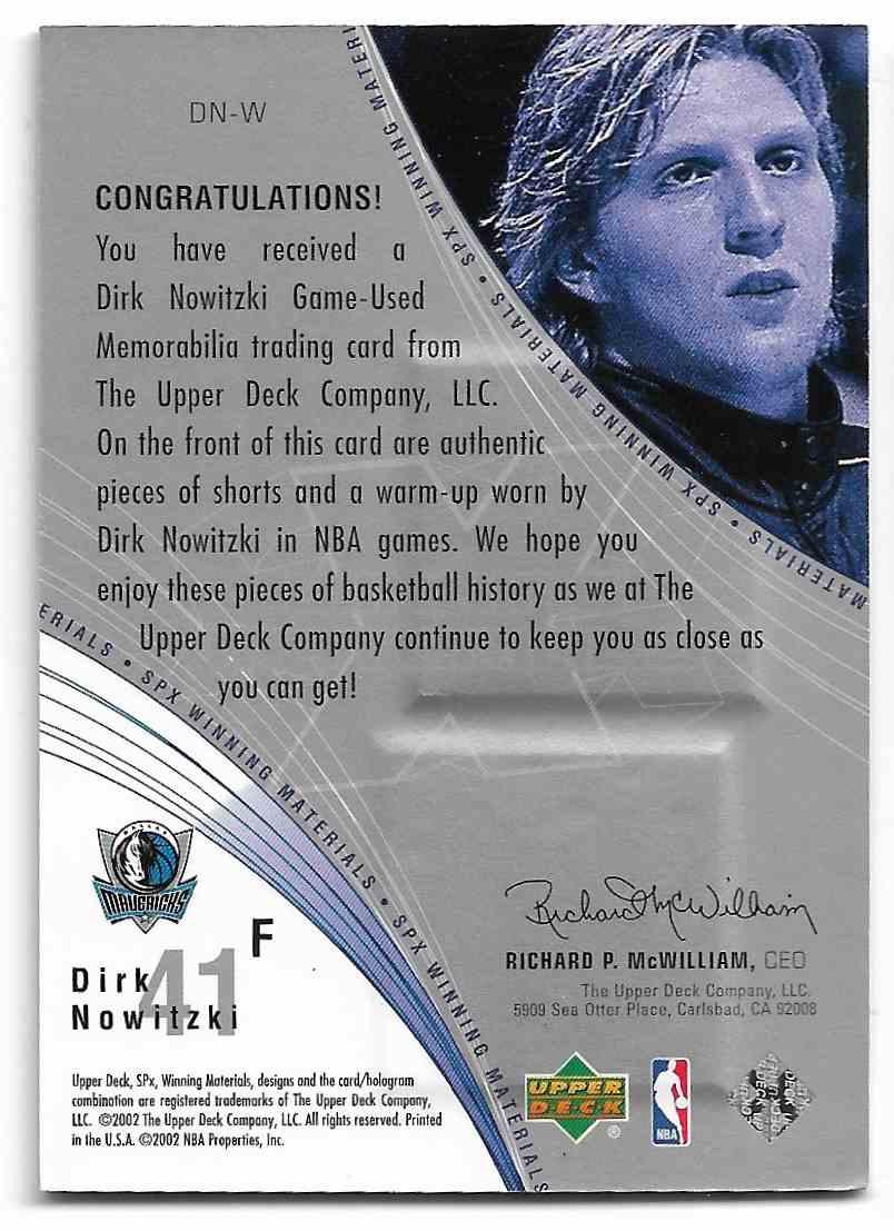2002-03 Upper Deck SPx Dirk Nowitzki #DN-W card back image