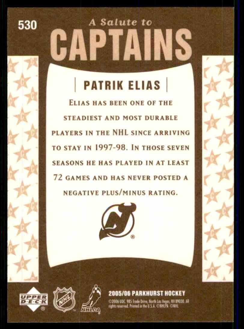2005-06 Parkhurst Patrik Elias #530 card back image
