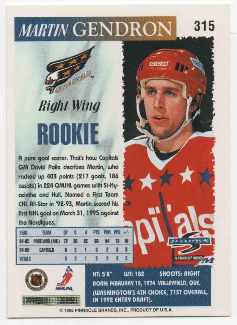 1995-96 Score Martin Gendron #315 card back image