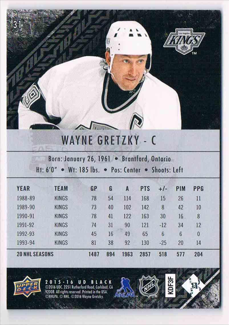 2015-16 UD Black Base Wayne Gretzky #31 card back image