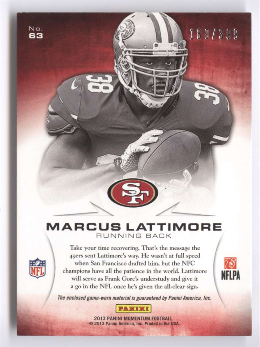 2013 Panini Momentum Rookie Initiation Materials Marcus Lattimore #63 card back image