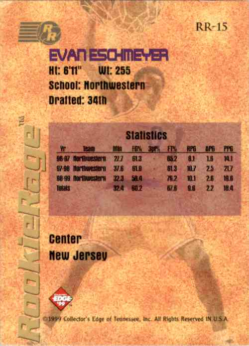 1999-00 Collector's Edge Rookie Rage Gold Evan Eschmeyer #RR15 card back image