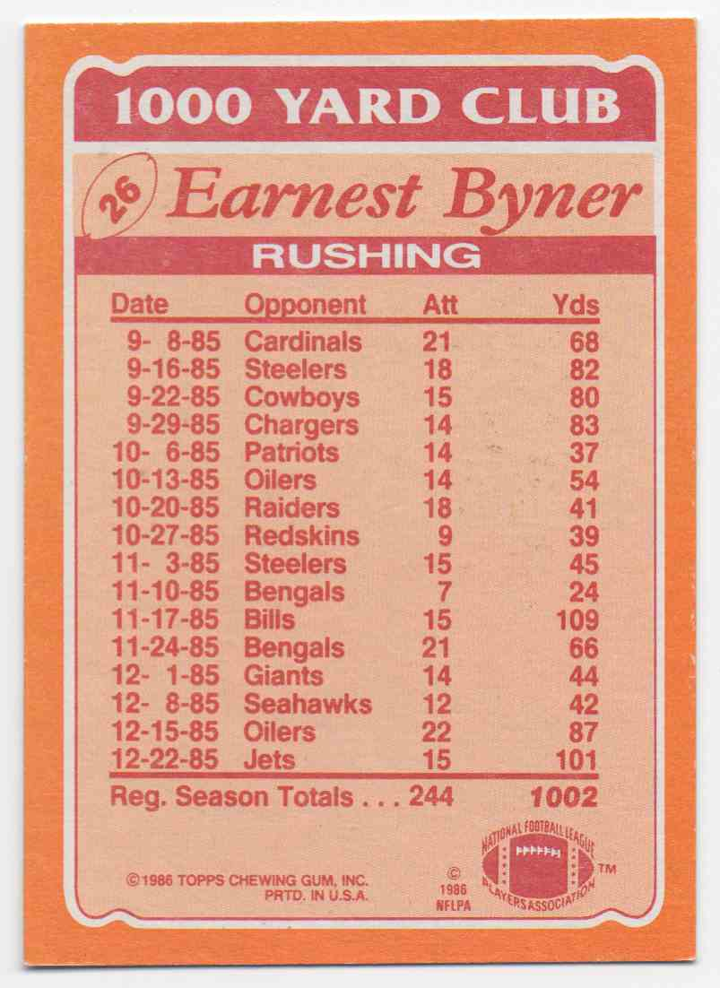 1986 Topps 1000 Yard Club Earnest Byner #26 card back image
