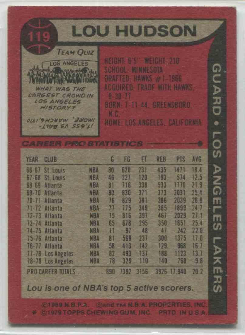 1979 80 Topps Lou Hudson 119 on Kronozio