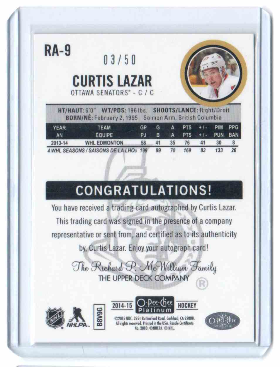 2014-15 O-Pee-Chee Platinum Rookie Autographs Red Rainbow Curtis Lazar #RA-9 card back image