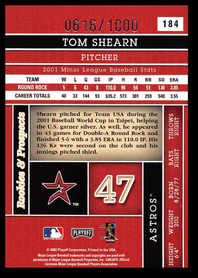 2002 Donruss Absolute Memorabilia Tom Shearn #184 card back image