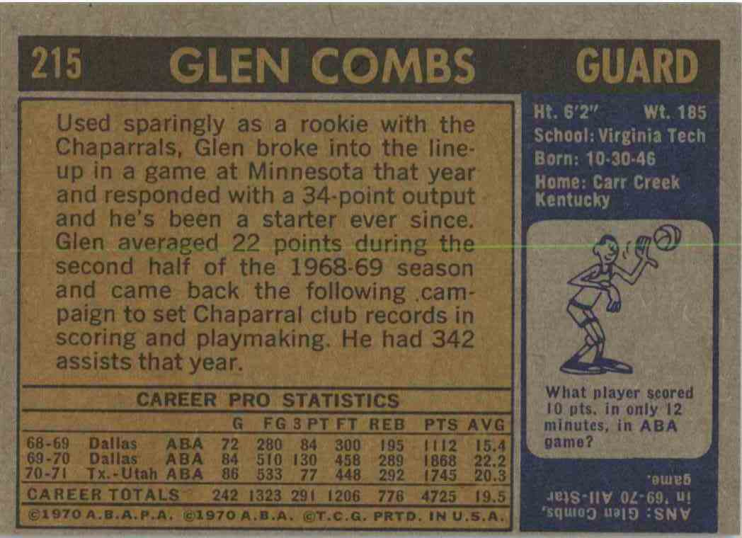 1971-72 Topps Glen Combs #215 card back image