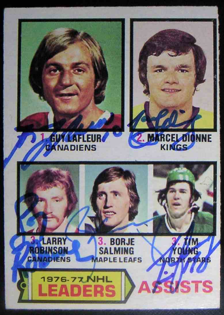 1977-78 O-Pee-Chee Assists Leaders Guy Lafleur Marcel Dionne Larry Robinson Borje Salming Tim Young #2 card front image