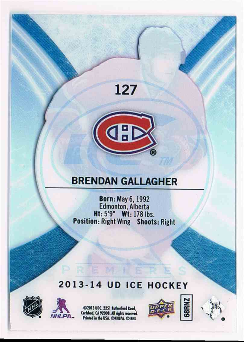 2013-14 Upper Deck Ice Rookie Brendan Gallagher #127 card back image