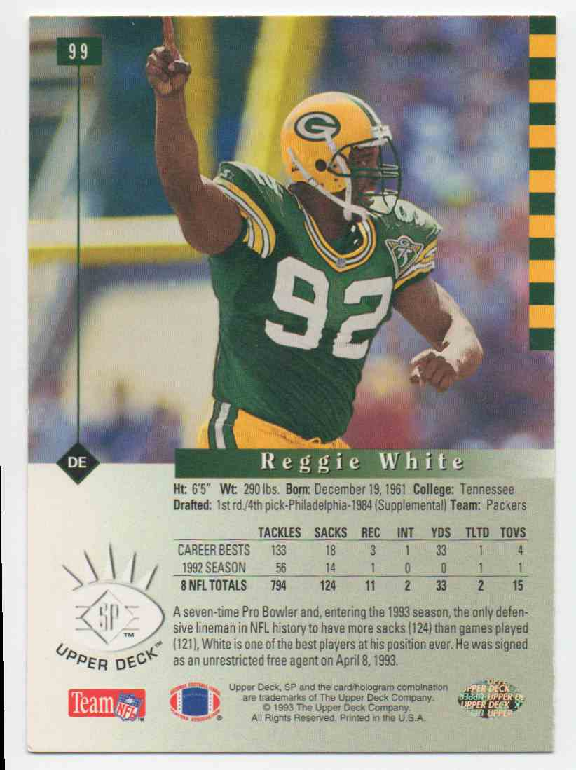 1993 SP Reggie White #99 card back image
