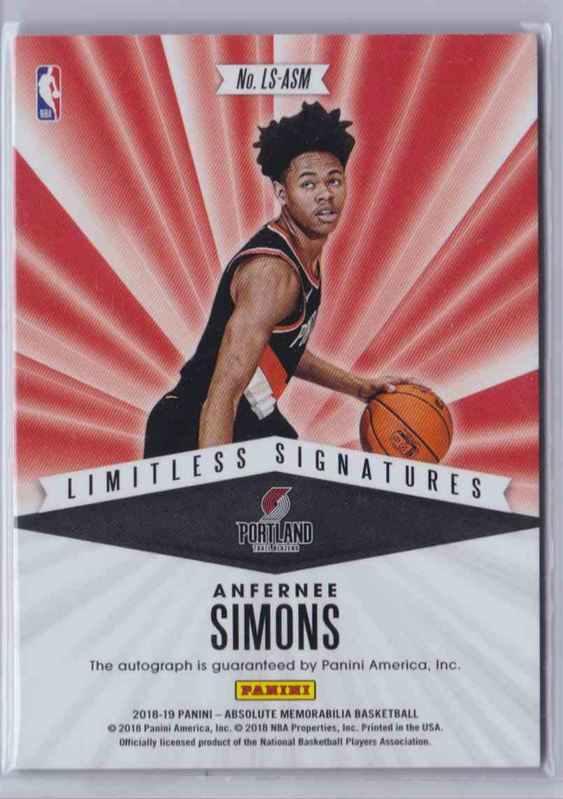 2018-19 Absolute Limitless Signatures Level 5 Anfernee Simons card back image