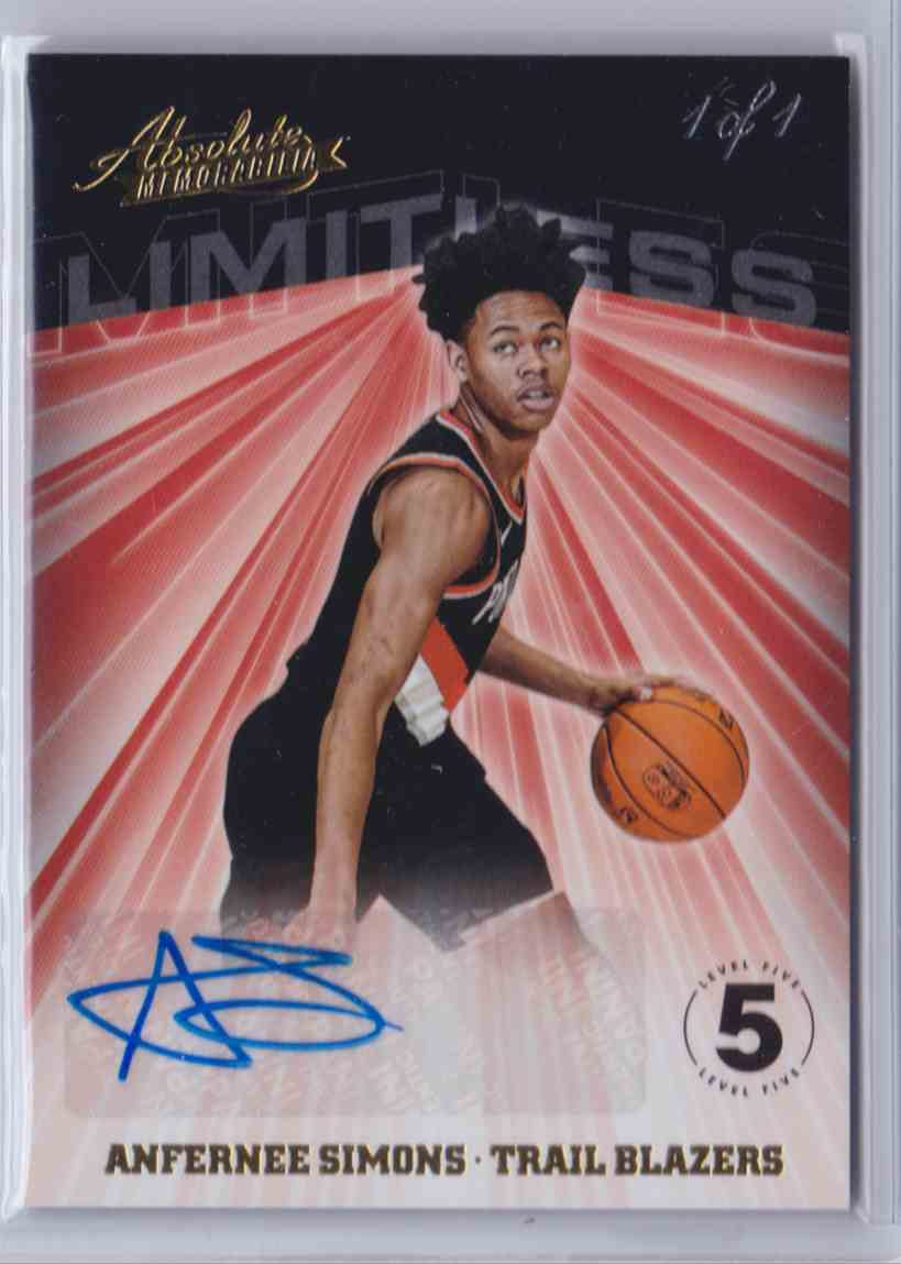 2018-19 Absolute Limitless Signatures Level 5 Anfernee Simons card front image