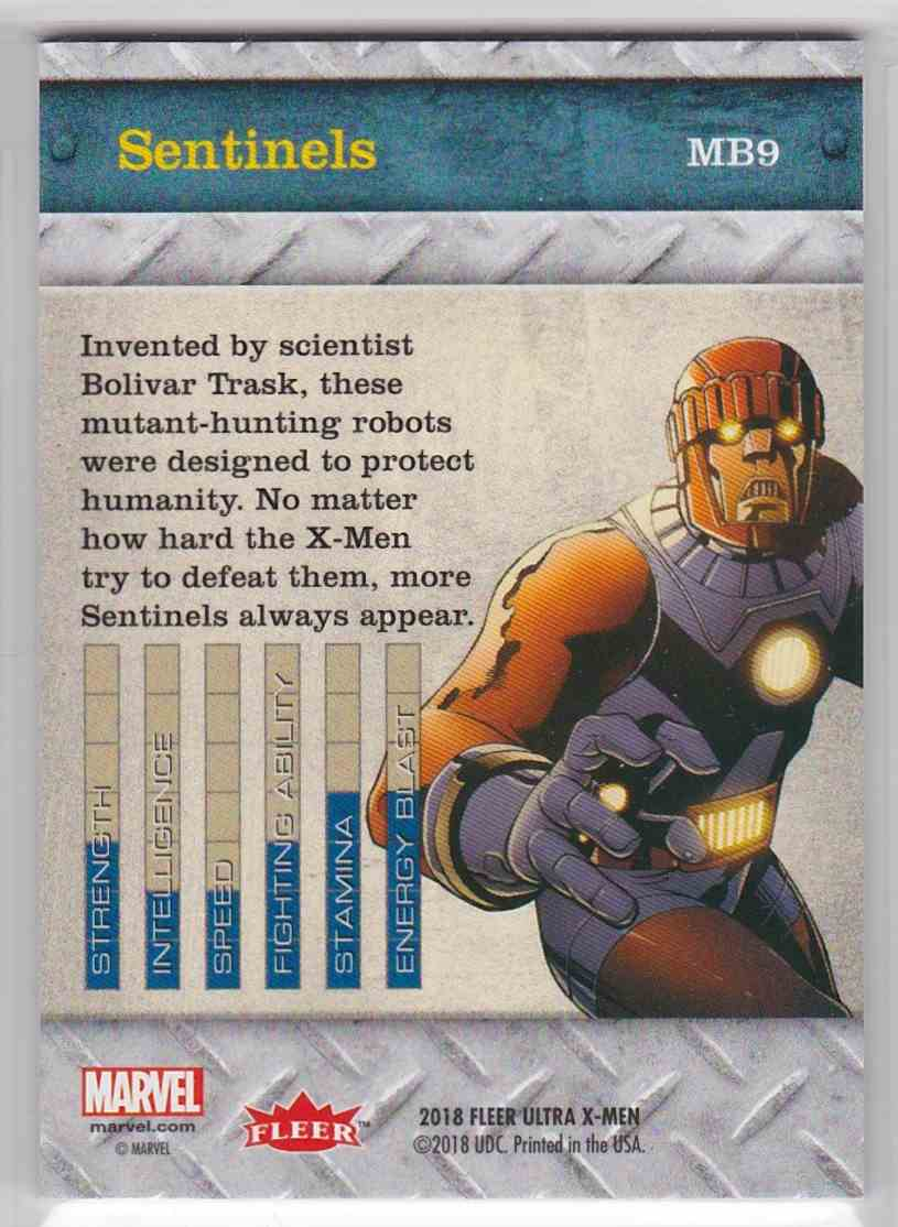 2018 Fleer Ultra X-Men Metal Blasters Sentinels #MB9 card back image