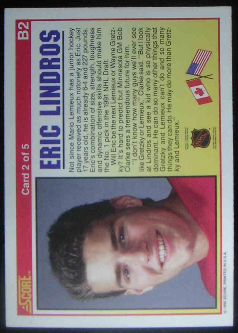 1990-91 Score Eric Lindros #B2 card back image